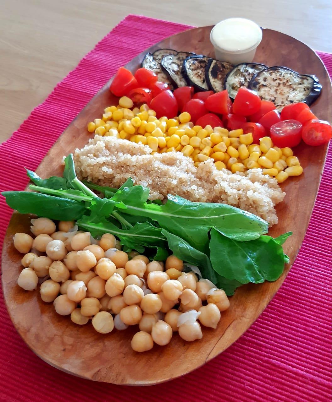 3 chickpea and aubergine salad